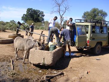 Collecting water from a manual borehole