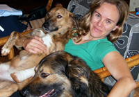 picture of Dr Lisa Marabini and two of her dogs